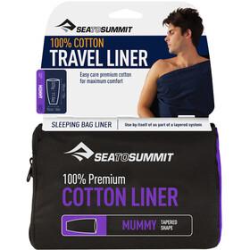 Sea to Summit Premium Cotton Travel Sisähousut Muumio Suippeneva, navy blue